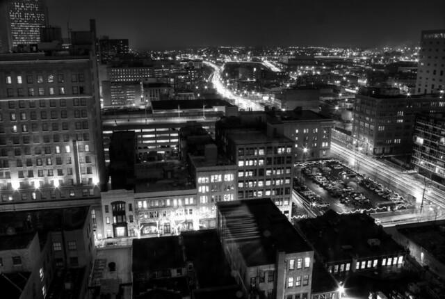 night city HDR b+w