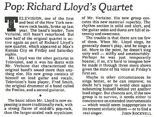 01-15-79 NYT Review - Richard Lloyd @ Max's Kansas City