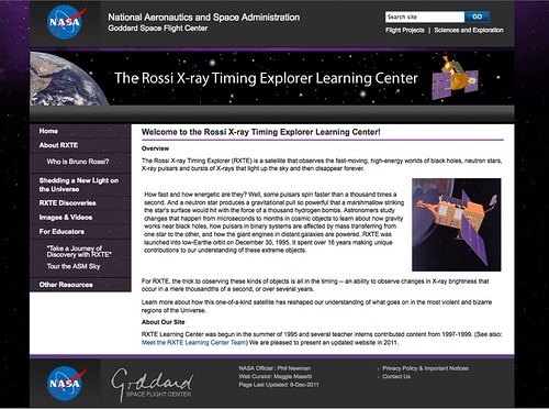 Screenshot of the RXTE Learning Center