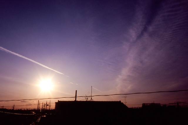 夕空の薄雲模様