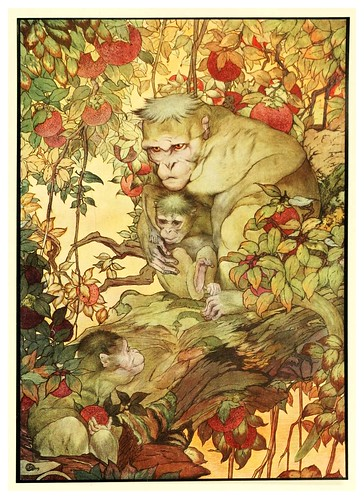 005-El mono y su madre-The fables of Aesop 1909-Edward Detmold