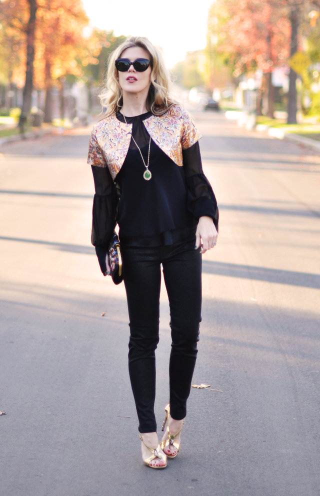 black outfit- gold shoes- gold accessories