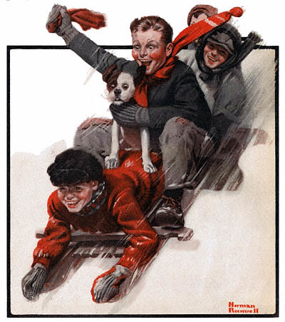 1919-12-27-The-Country-Gentleman-Norman-Rockwell-cover-Four-Boys-on-a-Sled-no-logo-400-1