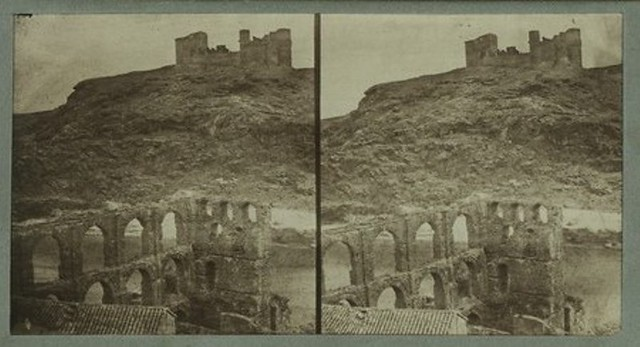 Artificio de Juanelo y Castillo de San Servando antes de 1868. Fotografía de Luis León Masson