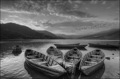 Fewa Lake Sunset (B&W), Pokhara, Nepal