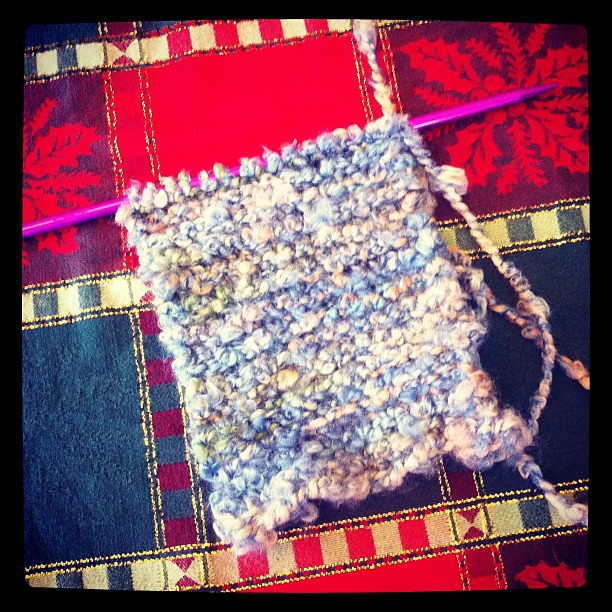 Scarf! My mom actually started this & then decided knitting wasn't for her. Secretly finishing it for her- shh! ;)