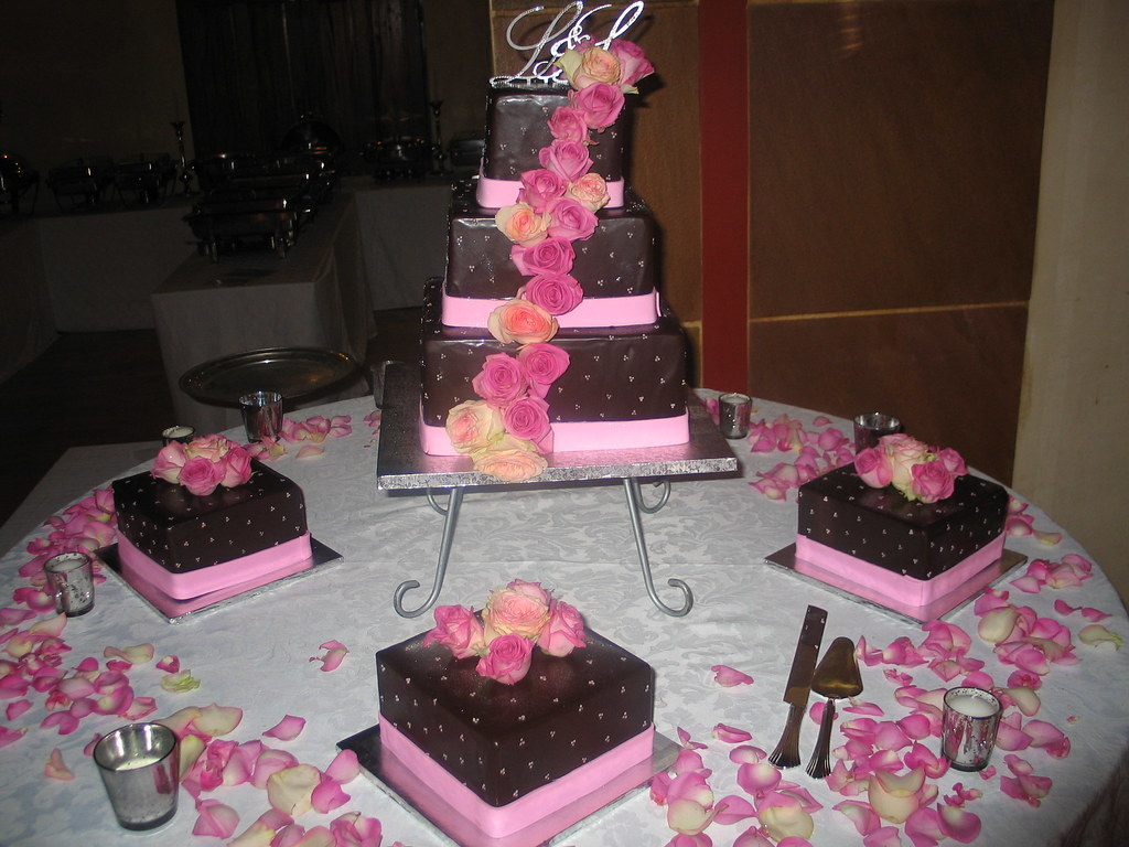 3 tier square Wicked Chocolate wedding cake iced in