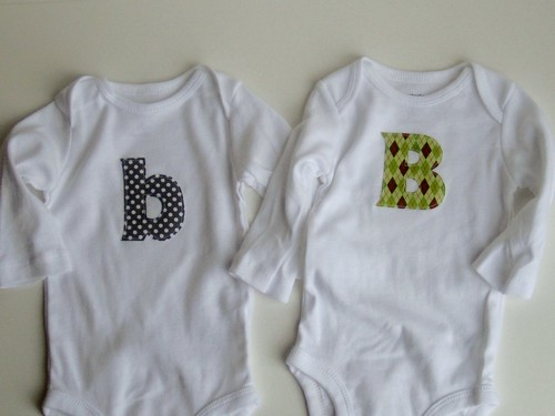 Applique onesies, B's