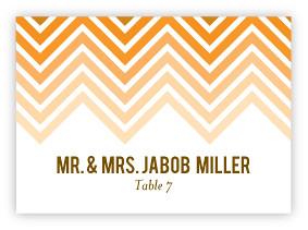 Ombre Chevron Wedding Escort Cards