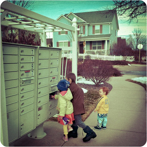 Windy walk to the mailboxes.