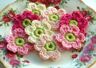 Pink and Cream Crochet Flowers