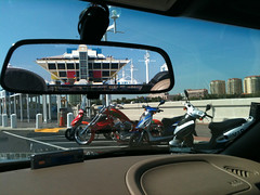 St Petersburg Pier as seen through rear view mirror
