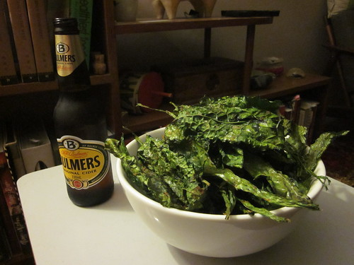 Dried kale chips and apple cider