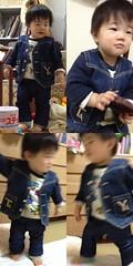 私が小さい頃に着てたデニムのベストを着る息子