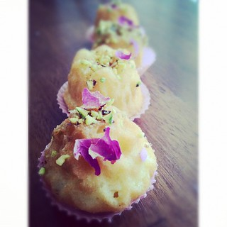 Rose pistachio mini tea cakes