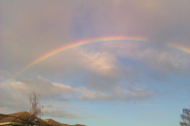 Rainbow stretching across the sky
