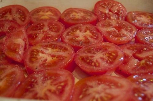 tomatoes. sliced in pan