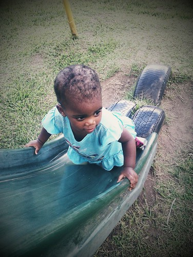 Thanda Trying To Climb The Slide