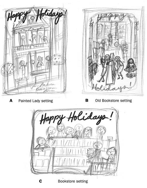 ABLA holiday card: rough sketches
