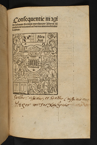 Annotated title-page of Buridanus, Johannes: Consequentiae