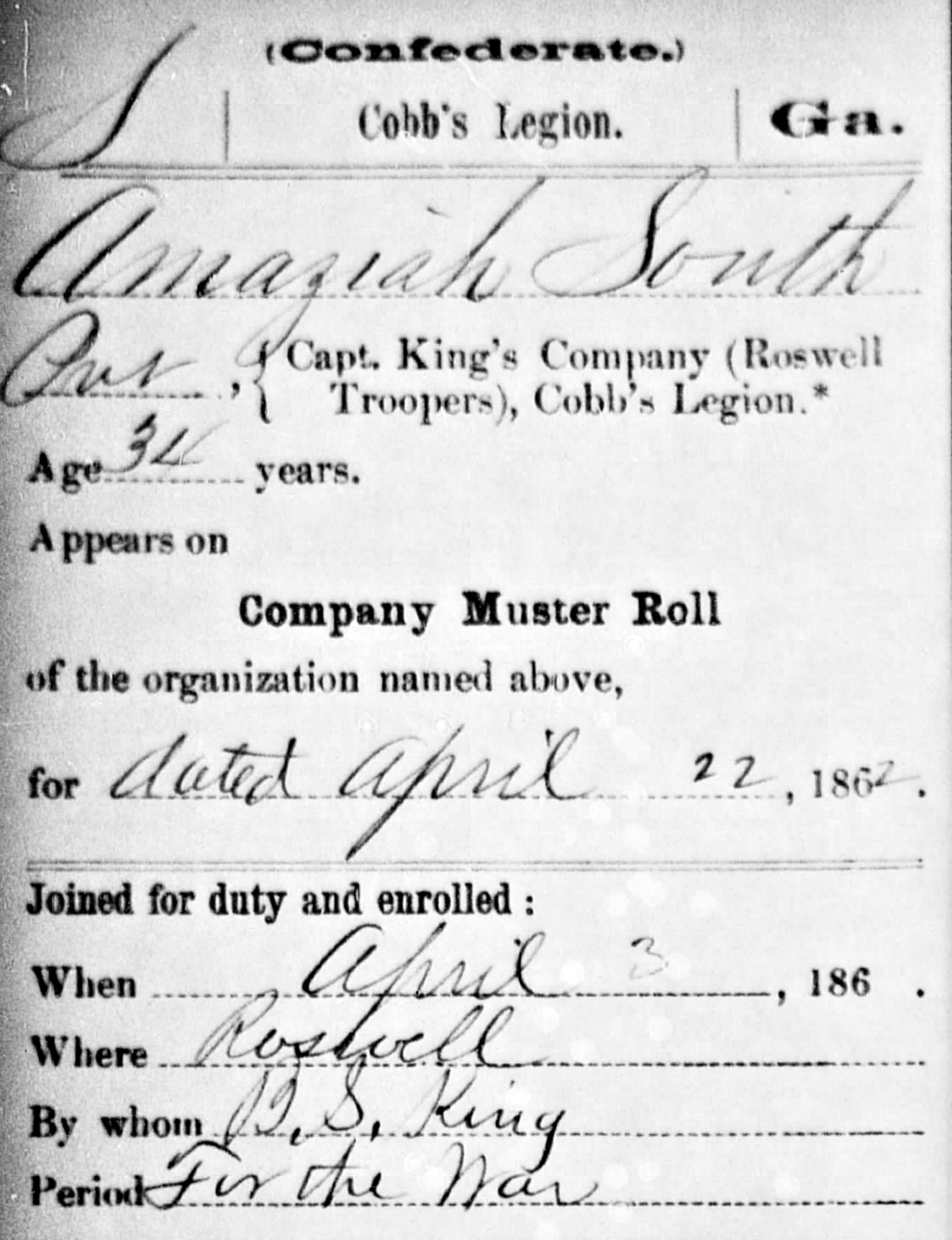 Amaziah South Civil War Record