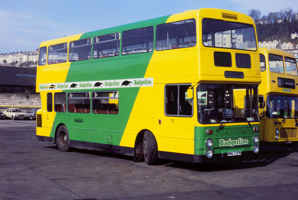 1988-04-10 BNE 737N Daimler Fleetline-Northern Counties 72 of Badgerline, Bath