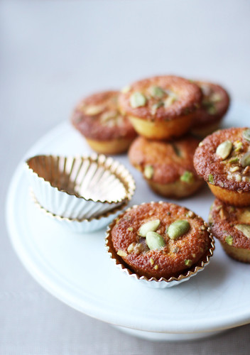 Mini Madeleines with Walnuts, Pistachios and Pumpkin Seeds