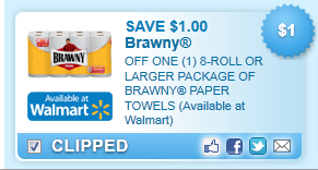 Off One (1) 8-roll Or Larger Package Of Brawny Paper Towels (available At Walmart) Coupon