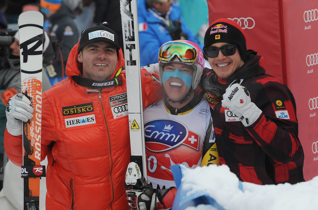 Jan Hudec, Ben Thomsen and Erik Guay celebrate a great day of downhill racing in Chamonix, France.