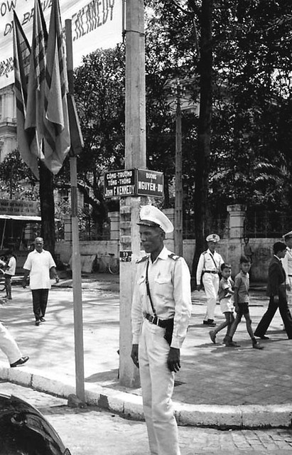A South Vietnamese traffic officer at Kennedy Square.
