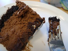 fudge(0.0), cake(1.0), baking(1.0), chocolate cake(1.0), baked goods(1.0), flourless chocolate cake(1.0), food(1.0), dish(1.0), chocolate brownie(1.0), chocolate(1.0),