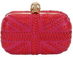 PINK RED WOVEN BRITANNIA SKULL BOX CLUTCH