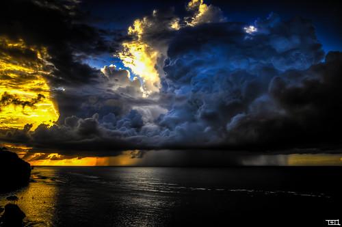 Big storm, golden sunset, gorgeous sky, calm ocean, what a day !