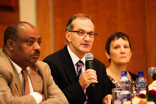 Dr. Peter Salama, UNICEF Representative to Ethiopia speaks at the launch of Amharic version ''Investing in Boys and Girls in Ethiopia: Past, Present and Future""