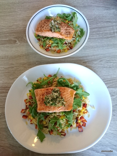 two servings of Salmon and Herb Salsa