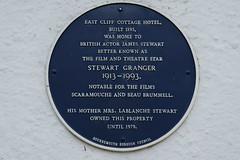 Photo of East Cliff Cottage Hotel, Stewart Granger, and Frederica Eliza Lablanche Stewart blue plaque