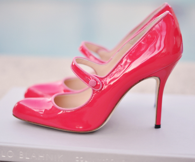 pink manolo mary janes