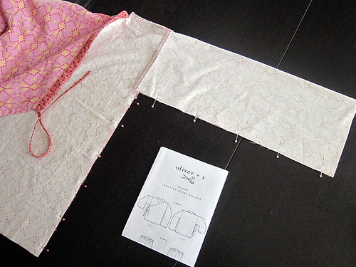 sewing the kimono sleeves