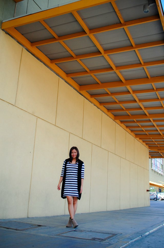 blue ad black, blue stripe dress and black knit vest, Denise Katipunera, Pinay Fashion Blogger, Mommy Style, Fashion On a Budget, Ukay Ukay, Thrift Finds, Thrift Blog, nude booties