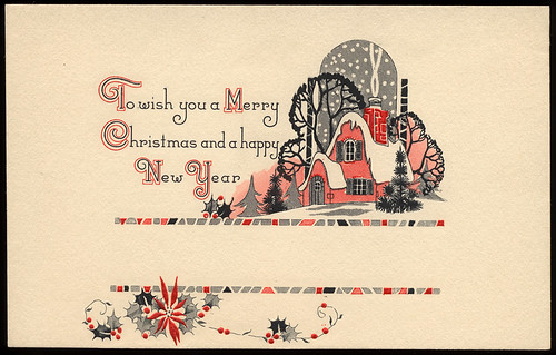 Vintage Cottage Christmas Card