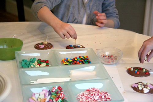 Making chocolate lolli-pops
