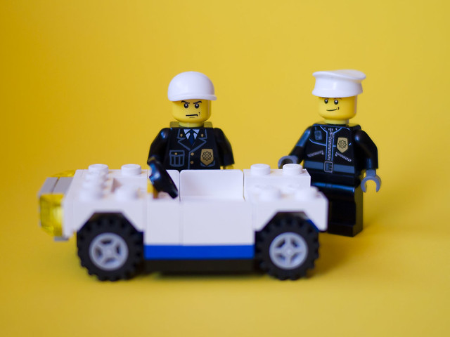Officer Kevin replaced the stolen wheels, at least...but it's still not a whole car