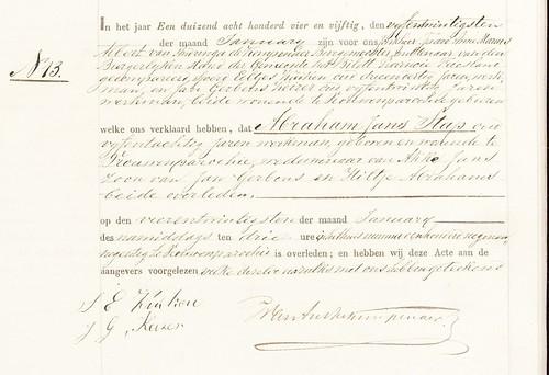 Abraham Jans Stap Death 24 Jan 1854 Vrouwenparochie