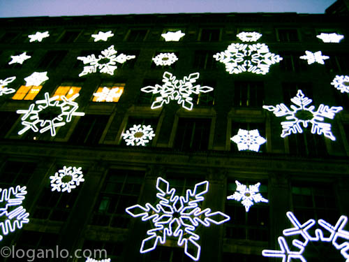 LED snowflakes on a building in NYC