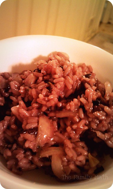 Red wine olive risotto
