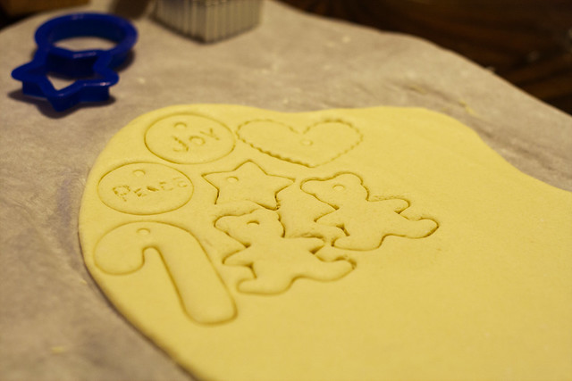 Cutting out salt dough ornaments