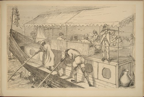On the Nile - Under the Awning - boat, gun etc