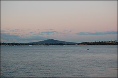Auckland Harbor from Westhaven Marina at sunset