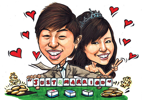 wedding couple caricatures @ Mahjong table