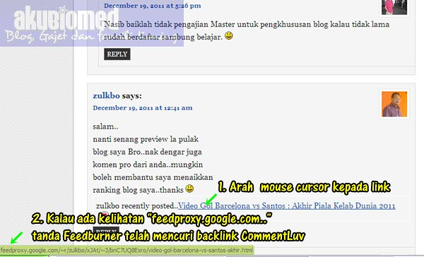 Cara periksa Feedburner mencuri backlink CommentLuv